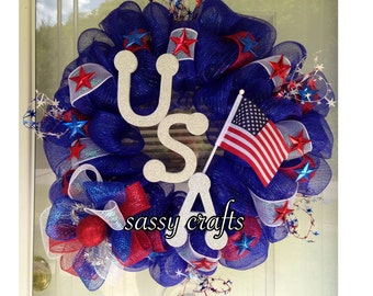 USA Patriotic Red White Blue Wreath