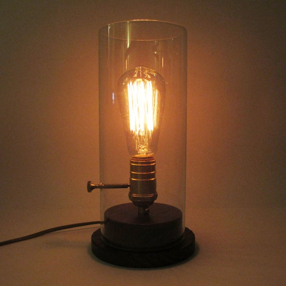 Edison Glass Desk Wood Lamp - edison bulb - desk lamp - industrial ...