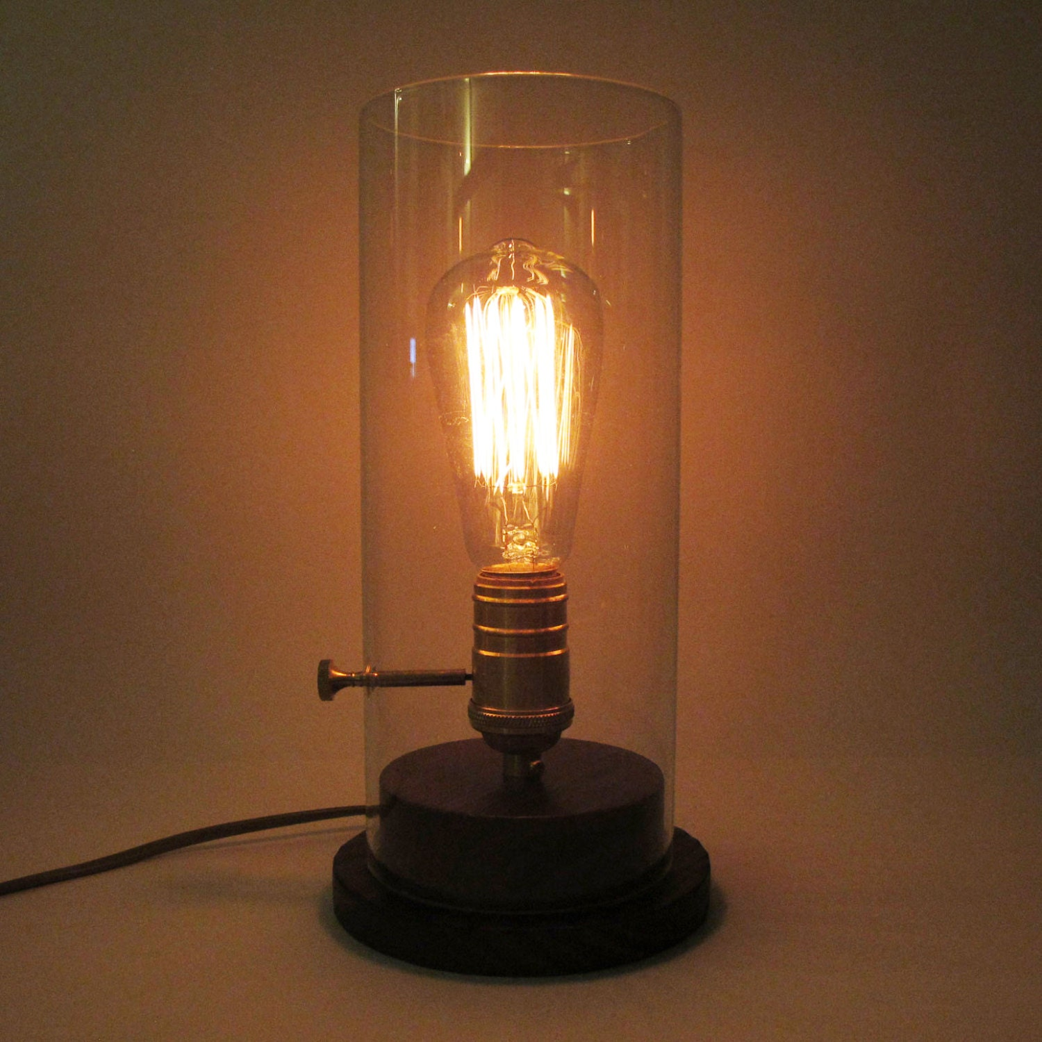 edison glass desk wood lamp edison bulb desk lamp. Black Bedroom Furniture Sets. Home Design Ideas