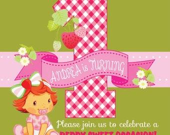 Strawberry 1st Birthday Invitation - Strawberry Birthday Card for Baby Girl's 1st Birthday