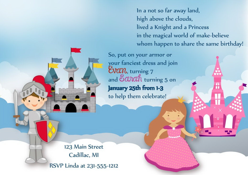 invitation anniversaire princesse chevalier princesse. Black Bedroom Furniture Sets. Home Design Ideas