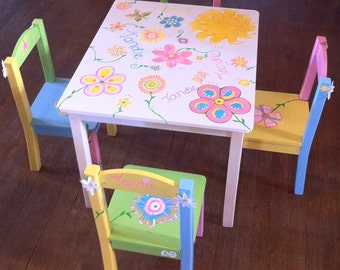 Child's hand painted table and chair set