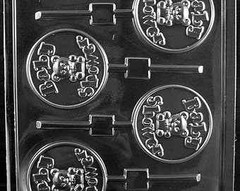 """LOPB-054 - Round """"Baby Shower"""" with Teddy Bear Chocolate Lollipop Mold"""