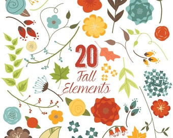 80% OFF SALE Fall Flowers and Leaves Clip Art, Autumn, Clipart, Vector