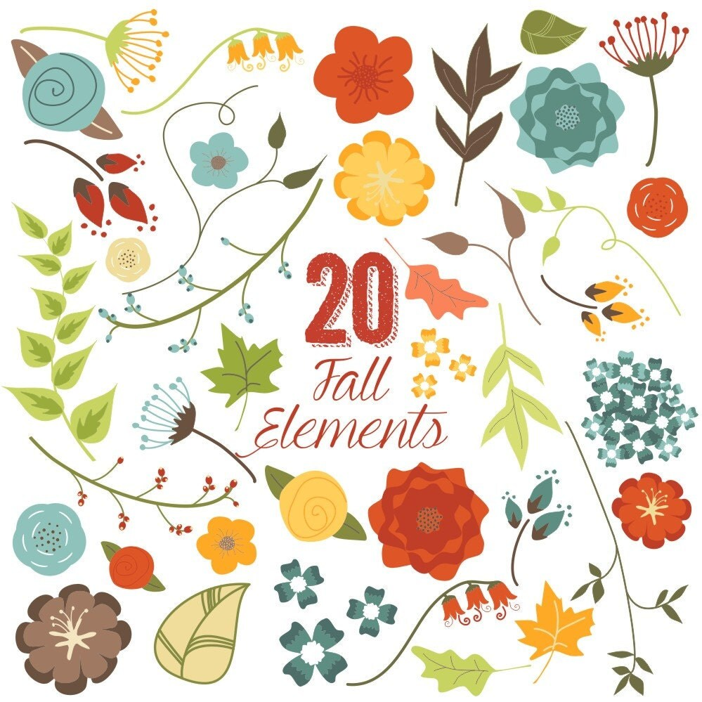Fall Flowers and Leaves Clip Art Autumn Clipart Vector