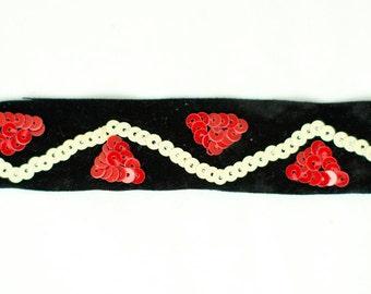 22yds Black Velvet Ribbon with Red & Cream Sequins