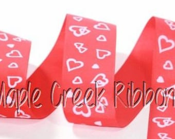 "1-1/2"" Red Grosgrain Ribbon with White Hearts 1-1/2"" x 1 yard"