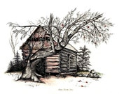 "Log Cabin, Farm, Apple Tree, Pen & Ink and Watercolor, ""George Shelor's Cabin"", Reproduction"