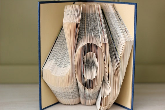 "Folded Book Art - ""Joy"" - Hardcover Book"