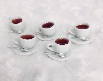 2 Sets Miniature Coffee Cup,Miniature Ceramic Coffee Cup with Spoon,Miniature  Coffee,Dollhouse Sweet,Miniature Coffee Set,Miniature Sweet