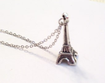 Antiqued Silver Eiffel Tower Pendant Necklace, Antiqued Silver Plated Chain
