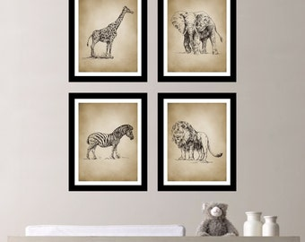 Vintage Safari Quad - Baby Boy Nursery Art. Boy Bedroom Art. Safari Nursery. Zoo Animal Nursery. Elephant. Giraffe. Zebra. Lion. (NS-135)