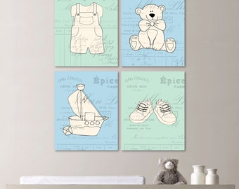 Baby Boy Nursery Art Print. Vintage Boy Nursery. Shabby Chic. Baby Boy. Nursery. French Nursery. Boy Nursery Art. Wall Art. Canvas. (NS-121)