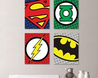 Superhero Nursery Art - Superhero Bedroom Art - Superhero Bedroom Art - Superhero bedroom decor - Boy Bedroom art You Pick the Size (NS-446)