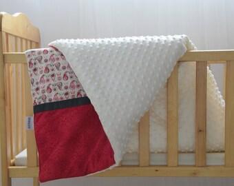 Minky Crib blanket , Minky infant blanket , Baby girl blanket ,  Warm minky blanket