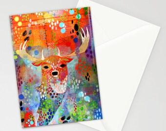 Deer Stationery, Wildlife Notecards, Alaskan Artist, Madara Mason, Unique Notecards, Blank Notecards, Blank Stationery, Woodland Notecards,