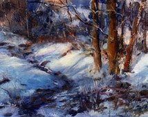 Afternoon Shadows - Winter Landscape - WATERCOLOR PRINT - Painting by Linda Henry - Available in 2 sizes with a Free Mat (#116)