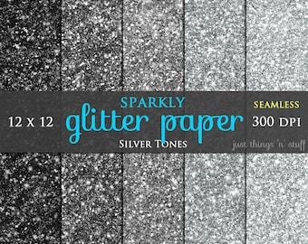 "Glitter Digital Paper ""Silver Glitter""  Seamless Texture Background - Digital glitter, Glitter Texture, Glitter Background, Glitter Clipart"