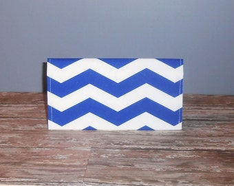 Checkbook Cover - Blue Chevron