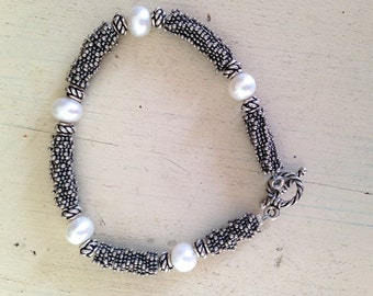 Freshwater Pearl and Sterling Bead Bracelet