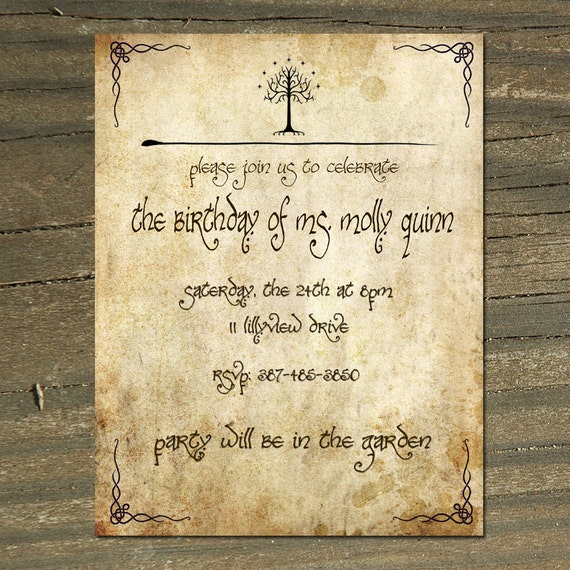 Lord of the Rings Digital Printable Birthday/Wedding Invitation