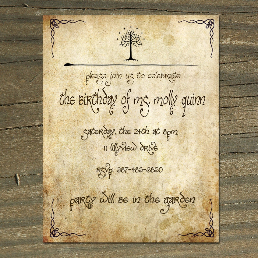 Lord Of The Rings Digital Printable Birthday/Wedding