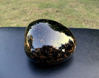 Gothic Paperweight Stone Sculpture Desk Accessory Japanese Lacquer Black Yellow Samurai Asian Art Gift Anniversary Ninja Fashion Zen Office