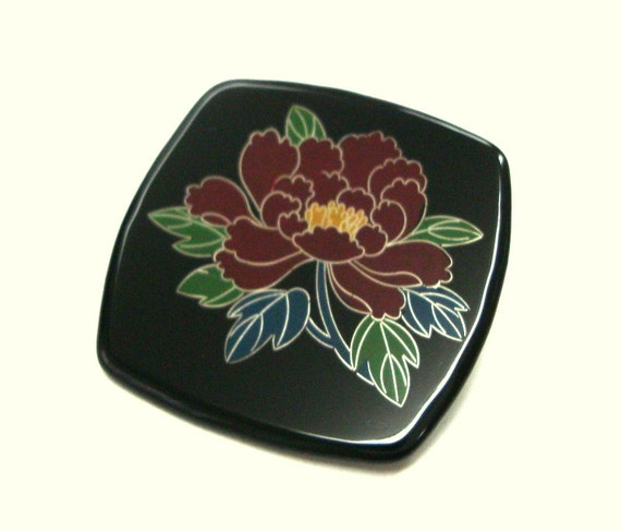 Iron Anniversary Gifts For Women: Items Similar To Kawaii Peony Brooch Japanese Lacquer