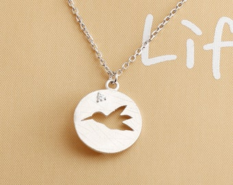 Sterling Silver Necklace, Simple Bird Silhouette Cubic Zirconia Setting Round Charm Pendant, Necklace
