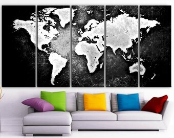 5 panel world map etsy xlarge 30x 70 5 panels art canvas print beautiful world map black gumiabroncs Choice Image