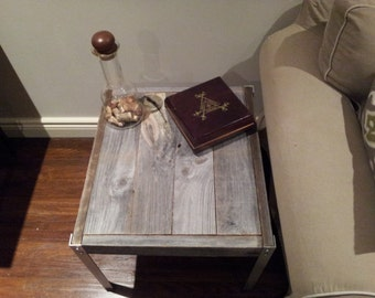 The Horizontal Side table with Aluminium  Legs - Unfinished Old barn Wood Side Table