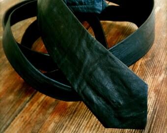 Vintage black leather men's skinny tie