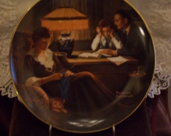 Knowles Norman Rockwell 's Light Campaign Series, Plate 3: Father's Help Collector Plate