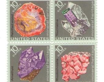 12 Unused 1974 Minerals - Vintage Postage Stamps Number 1538 - 1541