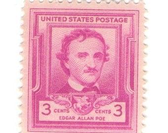 10 Unused 1949 - Edgar Allan Poe - Vintage Postage Stamps Number 986