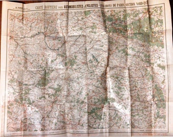 1910 French Touring Map for Bicyclists and Automobiles