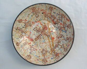 Pottery Plate, Decorative Ceramic Plate, Wall Art