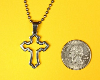 Cross Pendant, Stainless Steel, Shiny Polished Finish Charm -  Handmade rubber cord  and Stainless Steel chain necklace included