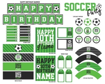 Soccer Party Printables Package - PFD File