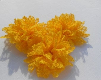 """Yellow Frayed  Lace flower, mesh,approx. 3.5""""  or 9 cm in diameter , use in DIY craft for baby,children accessories"""