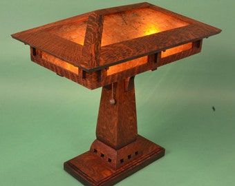 Amazing Arts And Crafts Mission Style Oak And Mica Table Lamp