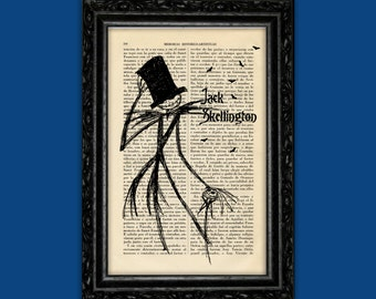 Jack Skellington Nightmare Before Christmas Silhouettes Print - Tim Burton Nº7 Halloween Jack Poster Book Art Print Gift Wall Decor Poster