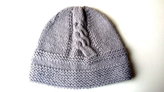 Hand Knitted baby children hat  , boy knit hat, knit hat  in grey  color for babies 6 - 12 m