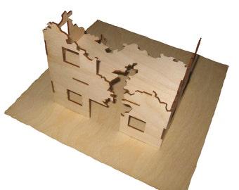 Half ruined building kit (Warhammer 40k, Warmachine, LotR, 28 mm war game terrain)