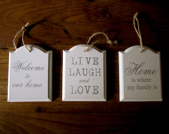 3 Wooden sign wall hanging.