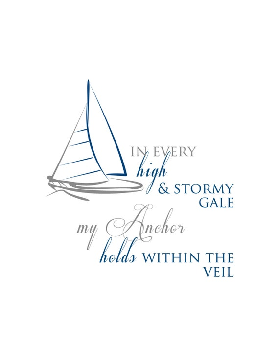 My anchor holds within the veil -- song lyrics. 8X10 Print Download; Digital Download Nautical Print