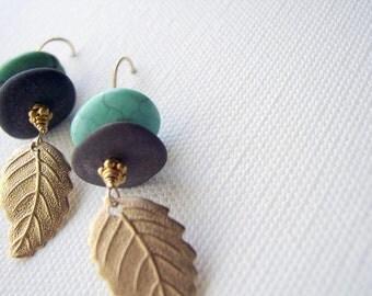 Lake Michigan Stone and Turquoise Earrings