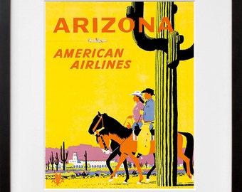 Arizona Art Print Western Vintage Travel Poster (TR107)