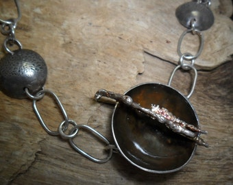 Oxidized sterling silver necklace.