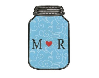 Jar Bottle Applique Machine Embroidery Design Digitized Pattern - 4x4 , 5x7, and 6x10 hoops